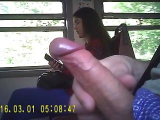 Незнакомец дрочит член на смазливую барышню в поезде